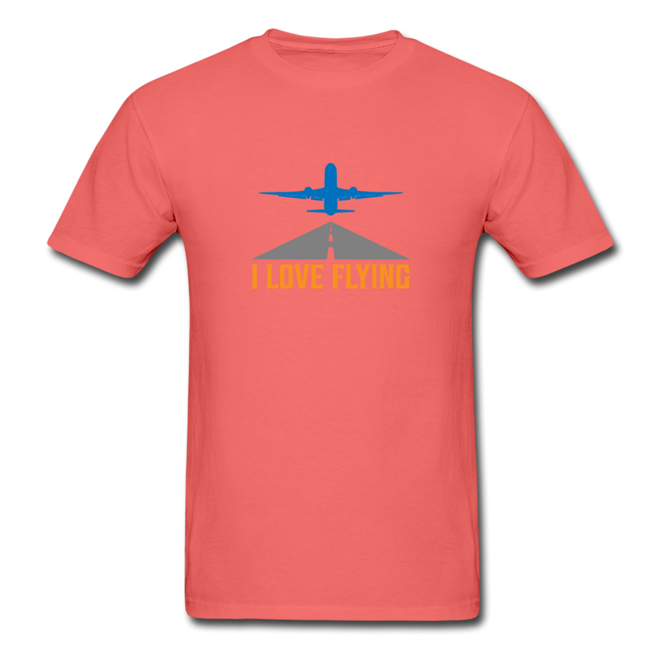 Unisex ComfortWash Garment Dyed T-Shirt, I Love Flying - coral