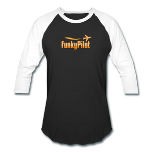 Baseball T-Shirt, FunkyPilot Logo - black/white