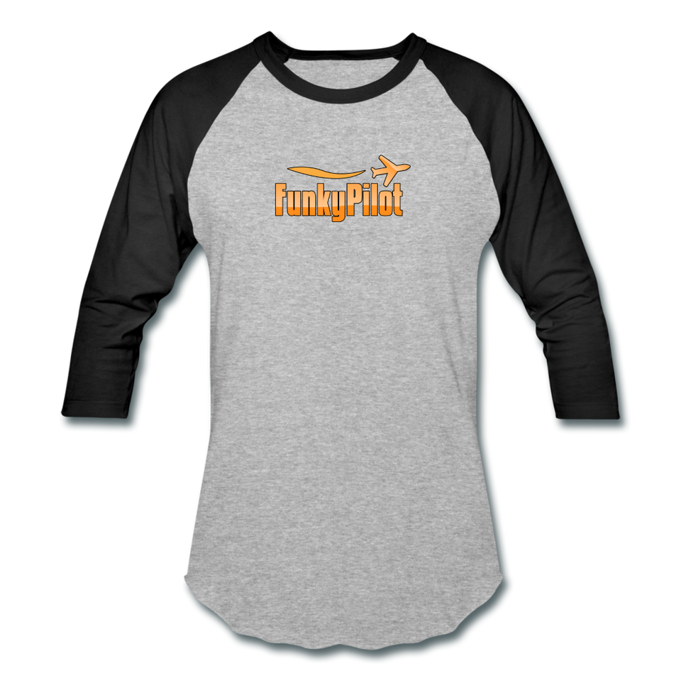 Baseball T-Shirt, FunkyPilot Logo - heather gray/black