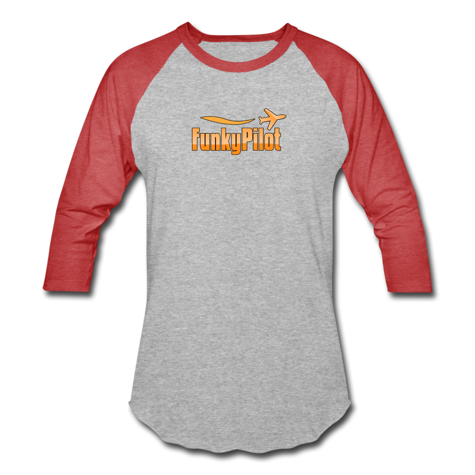 Baseball T-Shirt, FunkyPilot Logo - heather gray/red