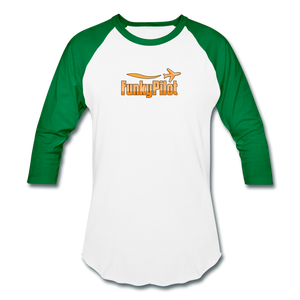 Baseball T-Shirt, FunkyPilot Logo - white/kelly green