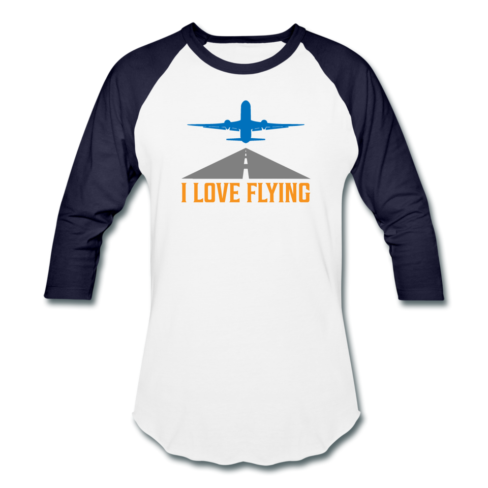 Baseball T-Shirt, I Love Flying - white/navy