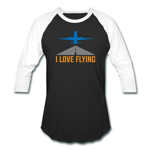 Baseball T-Shirt, I Love Flying - black/white