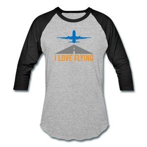 Baseball T-Shirt, I Love Flying - heather gray/black