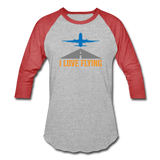 Baseball T-Shirt, I Love Flying - heather gray/red