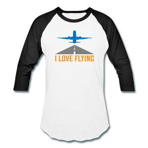 Baseball T-Shirt, I Love Flying - white/black