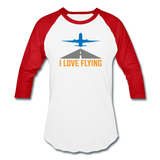 Baseball T-Shirt, I Love Flying - white/red