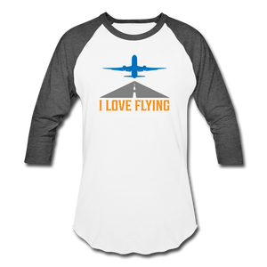 Baseball T-Shirt, I Love Flying - white/charcoal