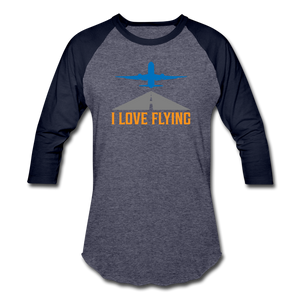 Baseball T-Shirt, I Love Flying - heather blue/navy