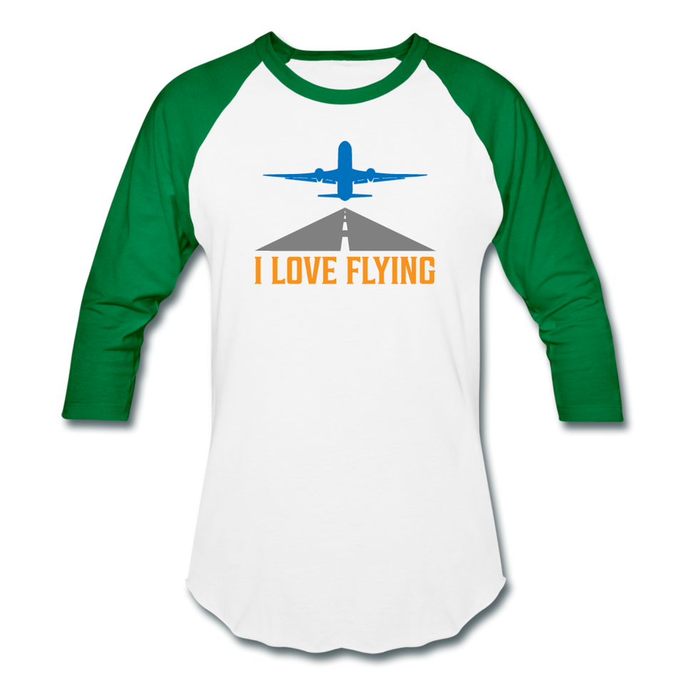 Baseball T-Shirt, I Love Flying - white/kelly green