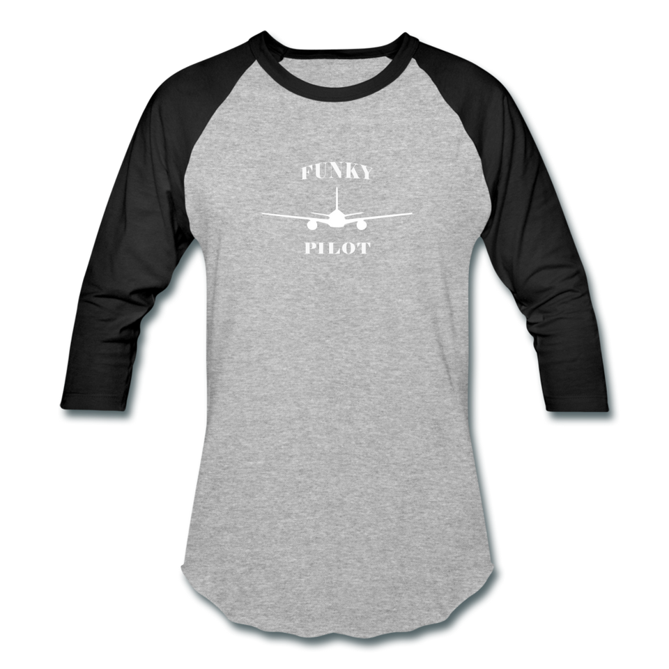 Baseball T-Shirt, FunkyPilot Twin Plane - heather gray/black