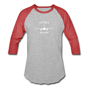 Baseball T-Shirt, FunkyPilot Twin Plane - heather gray/red