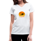 Women's V-Neck T-Shirt, FunkyPilot Airplane - white
