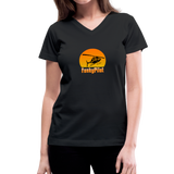 Women's V-Neck T-Shirt, FunkyPilot Airplane - black