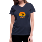Women's V-Neck T-Shirt, FunkyPilot Airplane - navy
