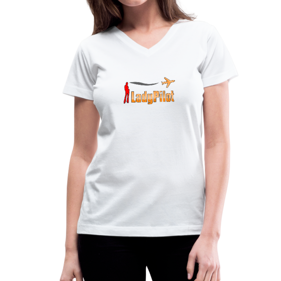 Women's V-Neck T-Shirt, Lady Pilot 1 - white