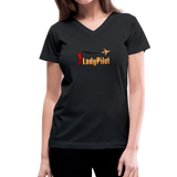 Women's V-Neck T-Shirt, Lady Pilot 1 - black