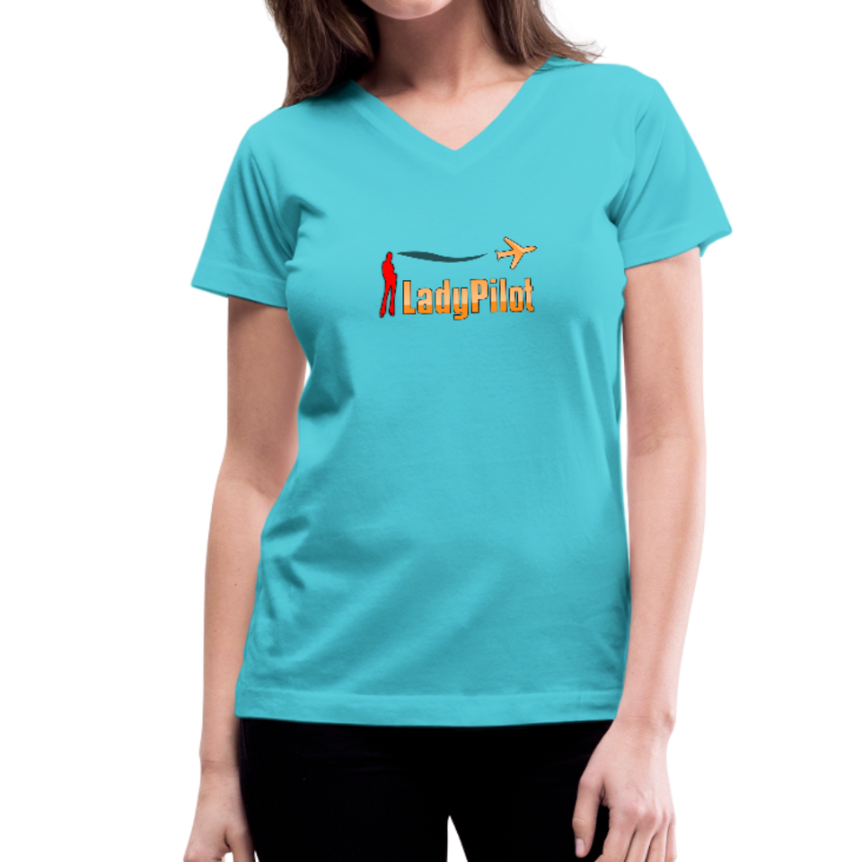 Women's V-Neck T-Shirt, Lady Pilot 1 - aqua