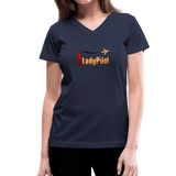 Women's V-Neck T-Shirt, Lady Pilot 1 - navy