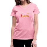 Women's V-Neck T-Shirt, Lady Pilot 1 - pink