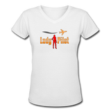 Women's V-Neck T-Shirt, Lady Pilot 2 - white