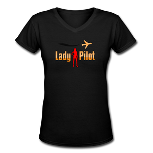 Women's V-Neck T-Shirt, Lady Pilot 2 - black