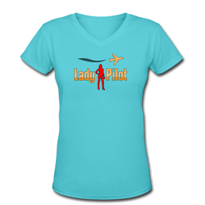Women's V-Neck T-Shirt, Lady Pilot 2 - aqua