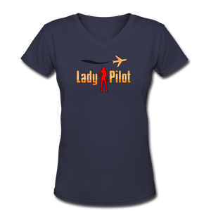 Women's V-Neck T-Shirt, Lady Pilot 2 - navy