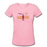 Women's V-Neck T-Shirt, Lady Pilot 2 - pink