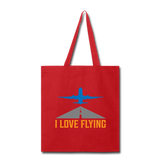 Tote Bag, I Love Flying - red