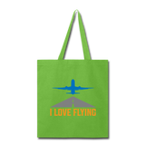 Tote Bag, I Love Flying - lime green