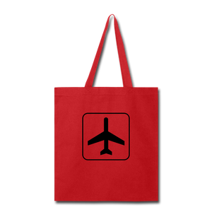 Tote Bag, Airplane Sign - red