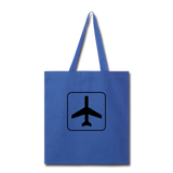 Tote Bag, Airplane Sign - royal blue