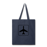 Tote Bag, Airplane Sign - navy