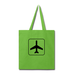Tote Bag, Airplane Sign - lime green