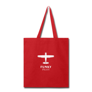 Tote Bag, FunkyPilot Single-Engine Airplane - red