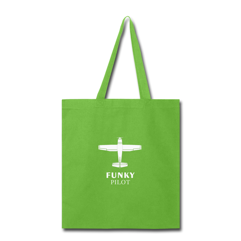 Tote Bag, FunkyPilot Single-Engine Airplane - lime green