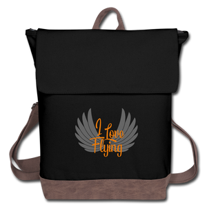 Canvas Backpack, I Love Flying 1 - black/brown