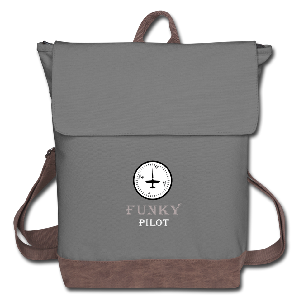 Canvas Backpack, Funky Pilot Compass - gray/brown