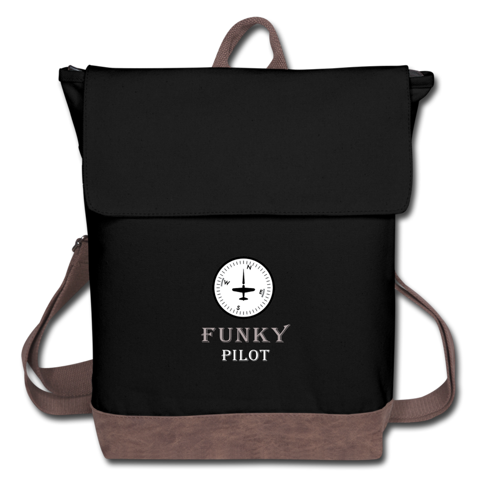 Canvas Backpack, Funky Pilot Compass - black/brown