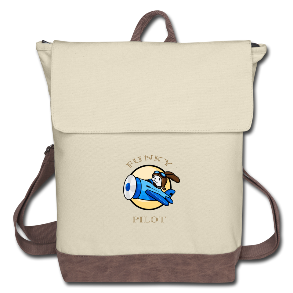 Canvas Backpack, Funky Pilot Bunny - ivory/brown