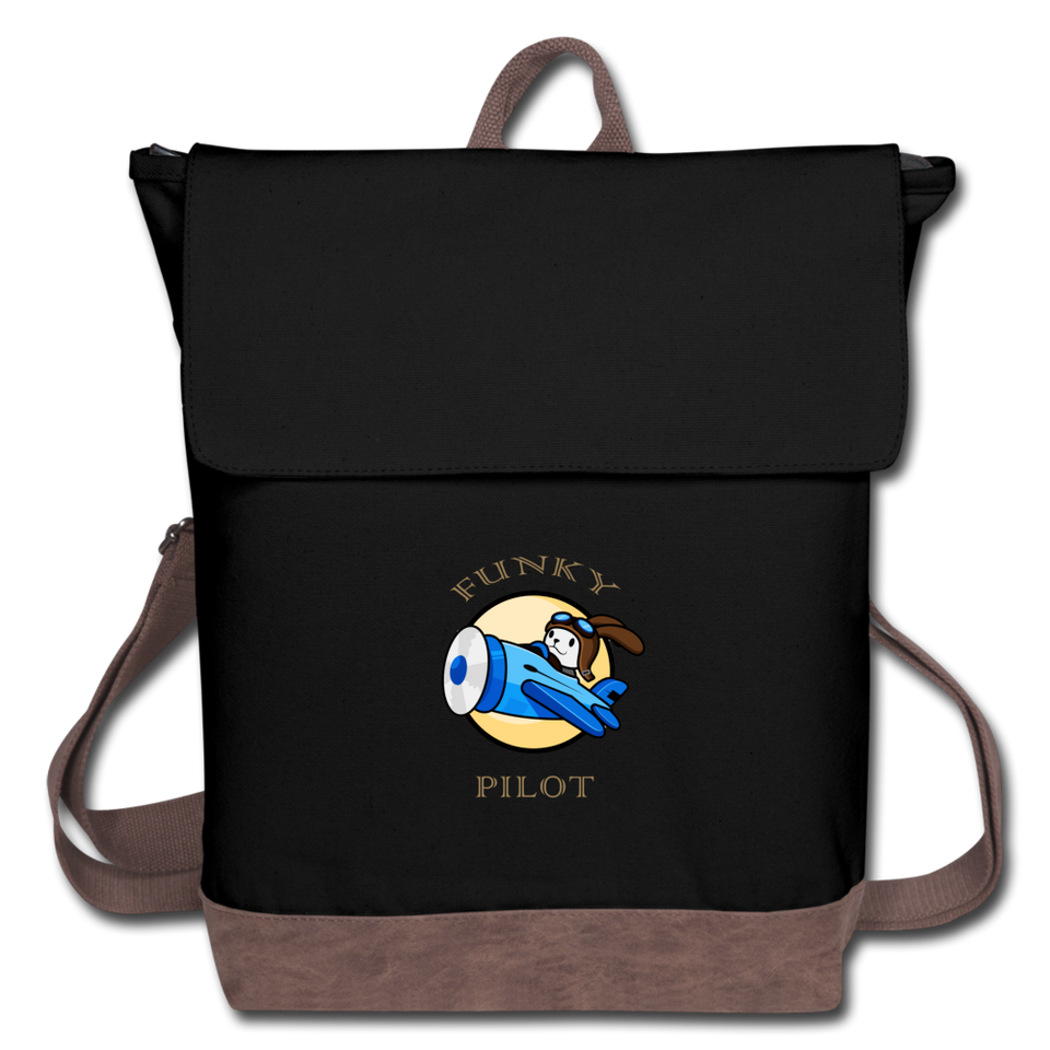 Canvas Backpack, Funky Pilot Bunny - black/brown