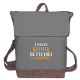 Canvas Backpack, I Would Rather Be Flying - gray/brown