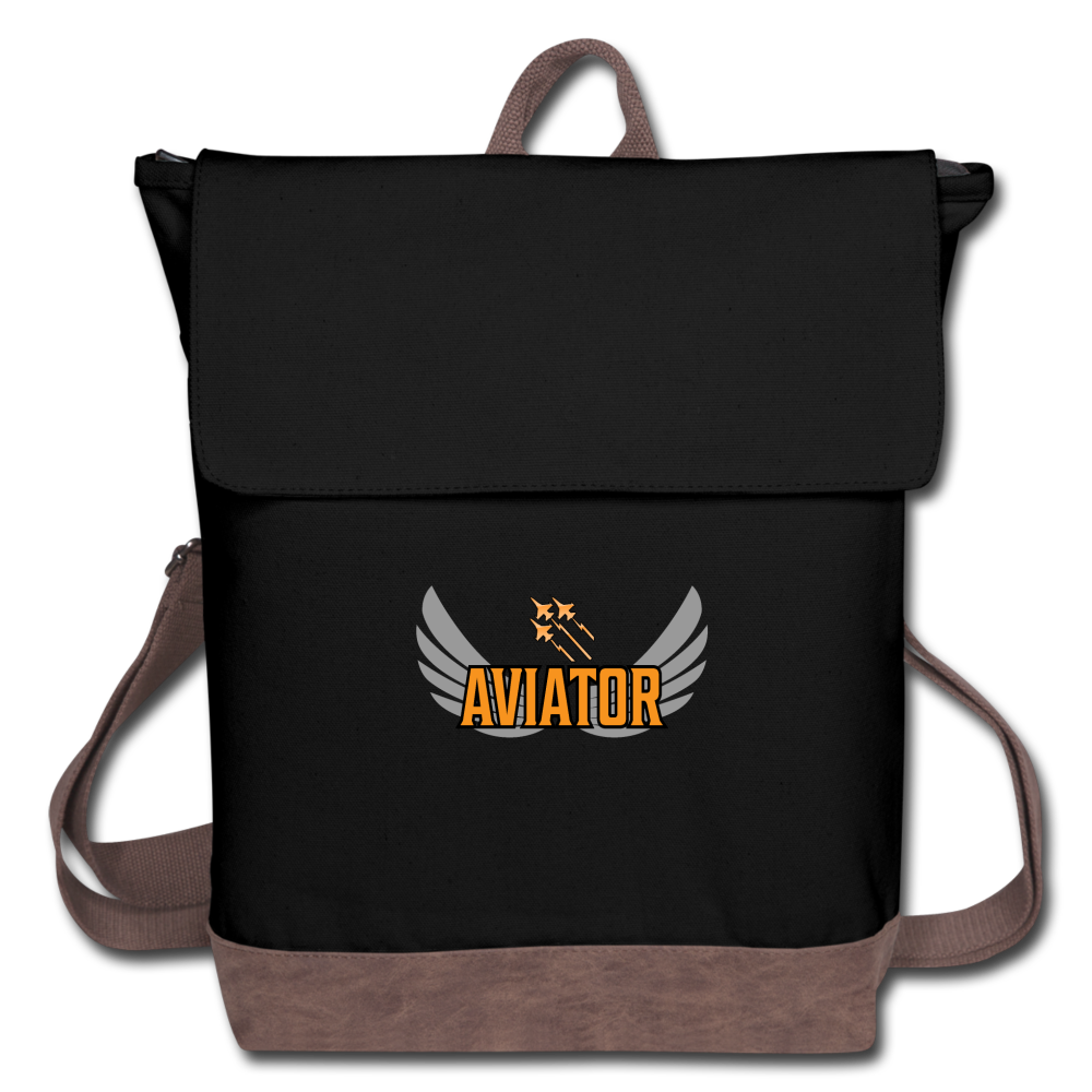 Canvas Backpack, Aviator Three Jets - black/brown