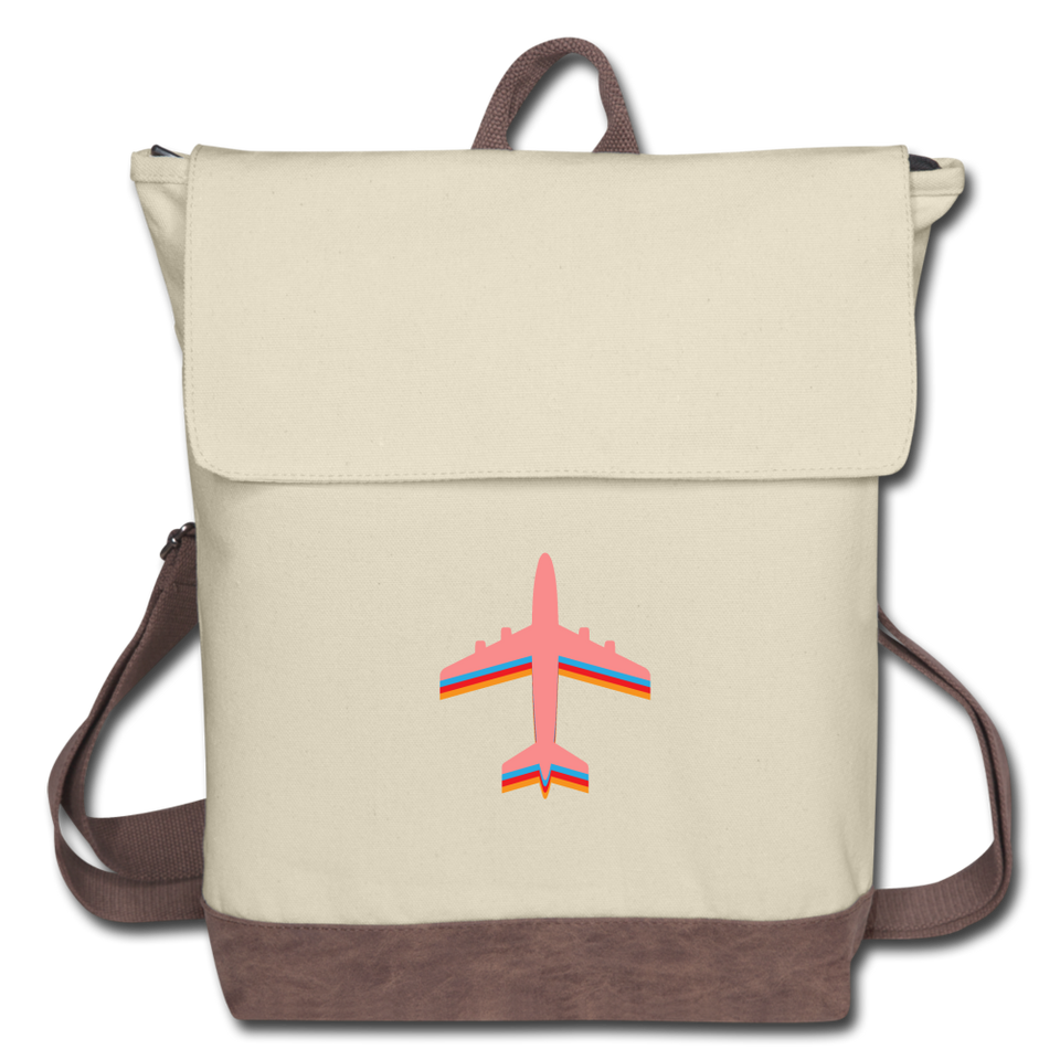 Canvas Backpack, Pink Airplane - ivory/brown