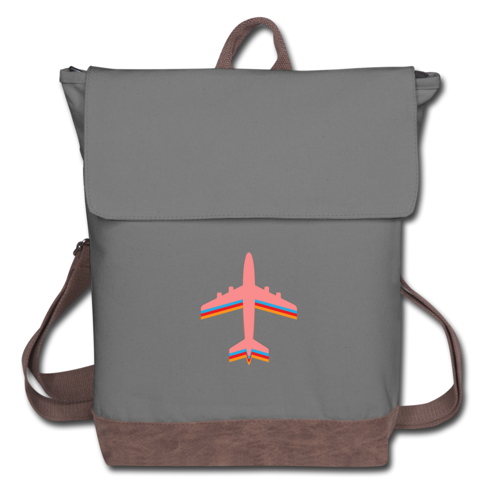 Canvas Backpack, Pink Airplane - gray/brown