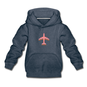 Kids' Premium Hoodie, Pink Airplane - heather denim