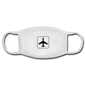 Face Mask, Adult, Airplane Sign - white/white