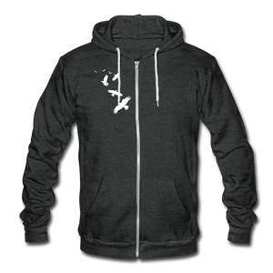 Unisex Fleece Zip Hoodie - Birds - charcoal gray
