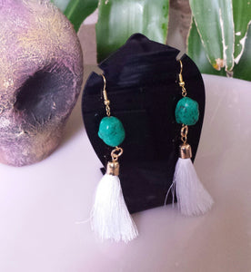 Green Tassle Earrings is fun to wear at a casual occasion.